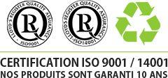 certifications et garantie de 10 ans